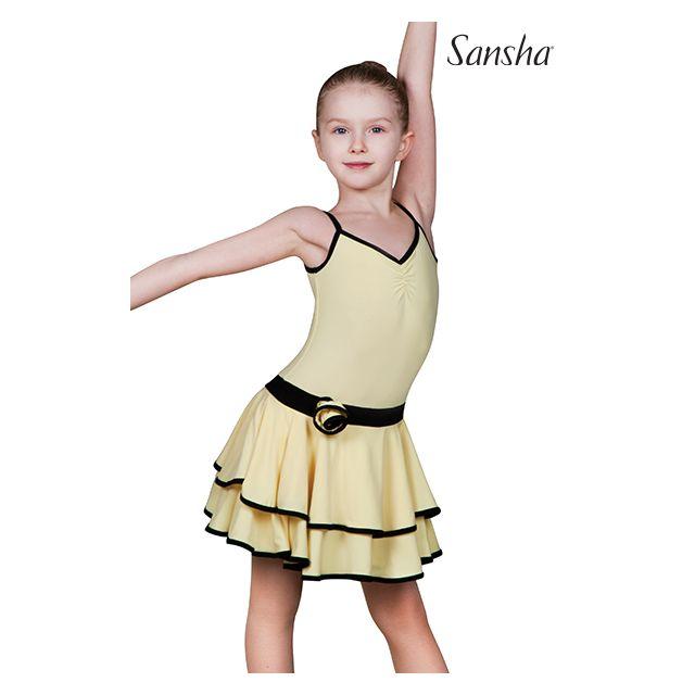 Vestido de camisola de baile latino para niños Y1708P BLANCA