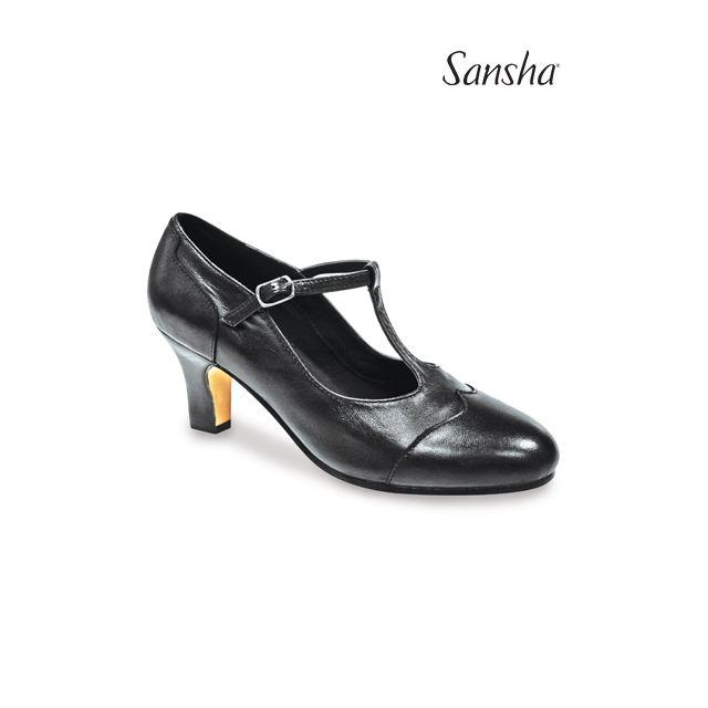 Zapatos de carácter de piel con T-bar CL55Lco RHINE